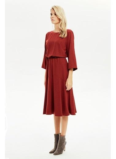 NaraMaxx Beli Lastikli Kloş Elbise Kırmızı